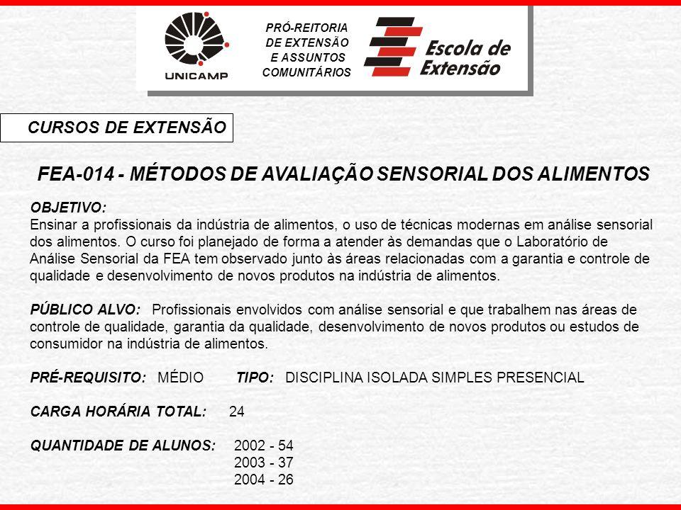 FEA-014 - MÉTODOS DE AVALIAÇÃO SENSORIAL DOS ALIMENTOS