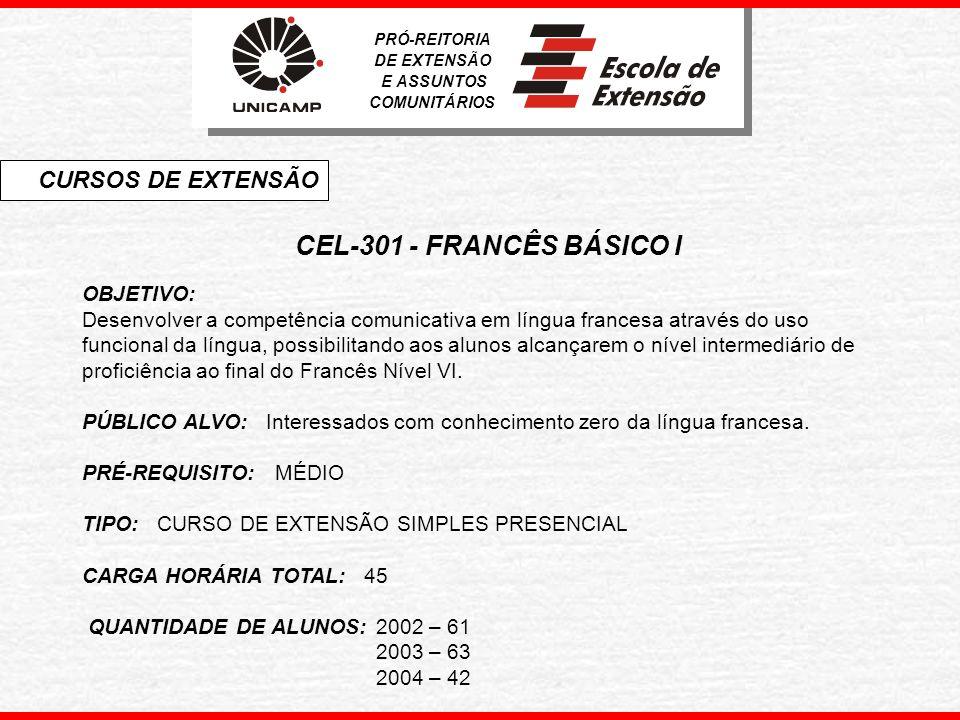 CEL-301 - FRANCÊS BÁSICO I CURSOS DE EXTENSÃO OBJETIVO: