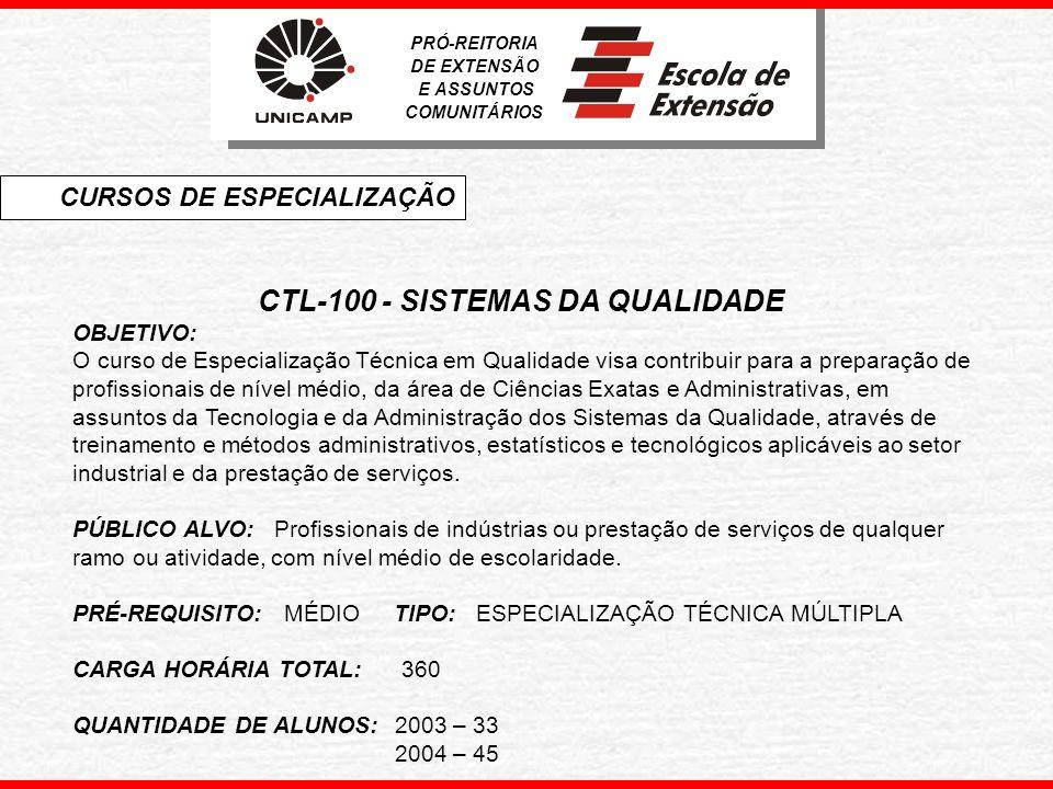 CTL-100 - SISTEMAS DA QUALIDADE