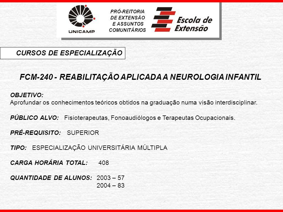 FCM-240 - REABILITAÇÃO APLICADA A NEUROLOGIA INFANTIL