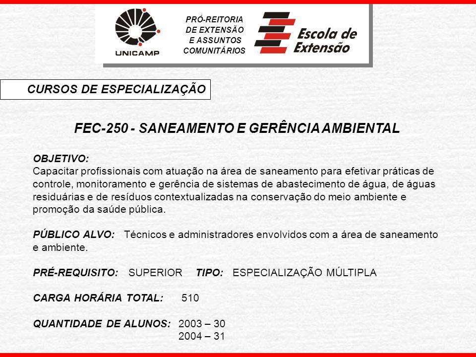 FEC-250 - SANEAMENTO E GERÊNCIA AMBIENTAL