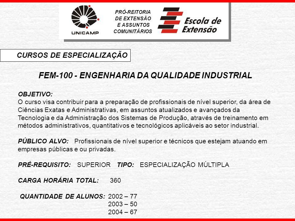 FEM-100 - ENGENHARIA DA QUALIDADE INDUSTRIAL