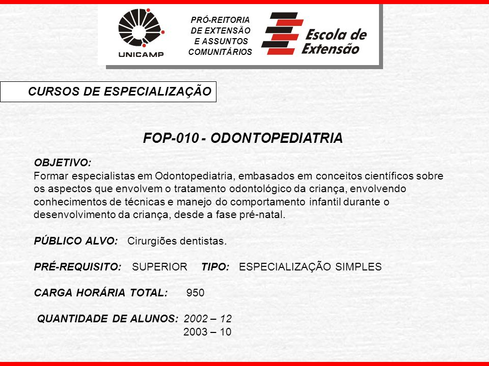 FOP-010 - ODONTOPEDIATRIA