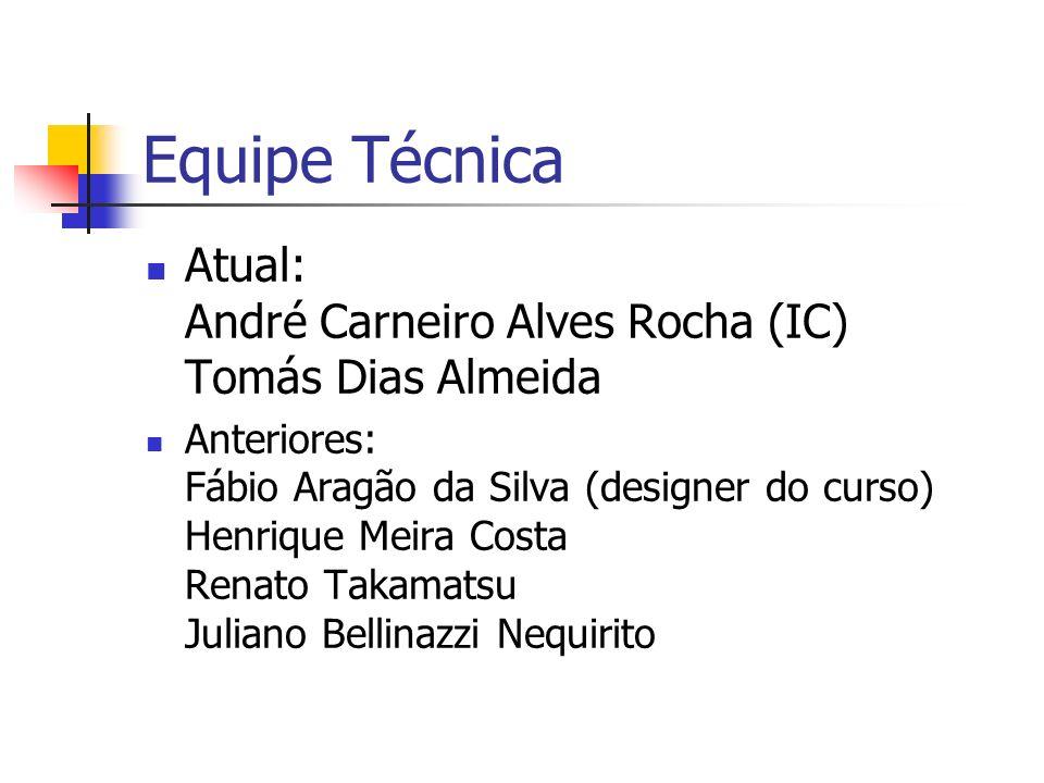Equipe Técnica Atual: André Carneiro Alves Rocha (IC) Tomás Dias Almeida.