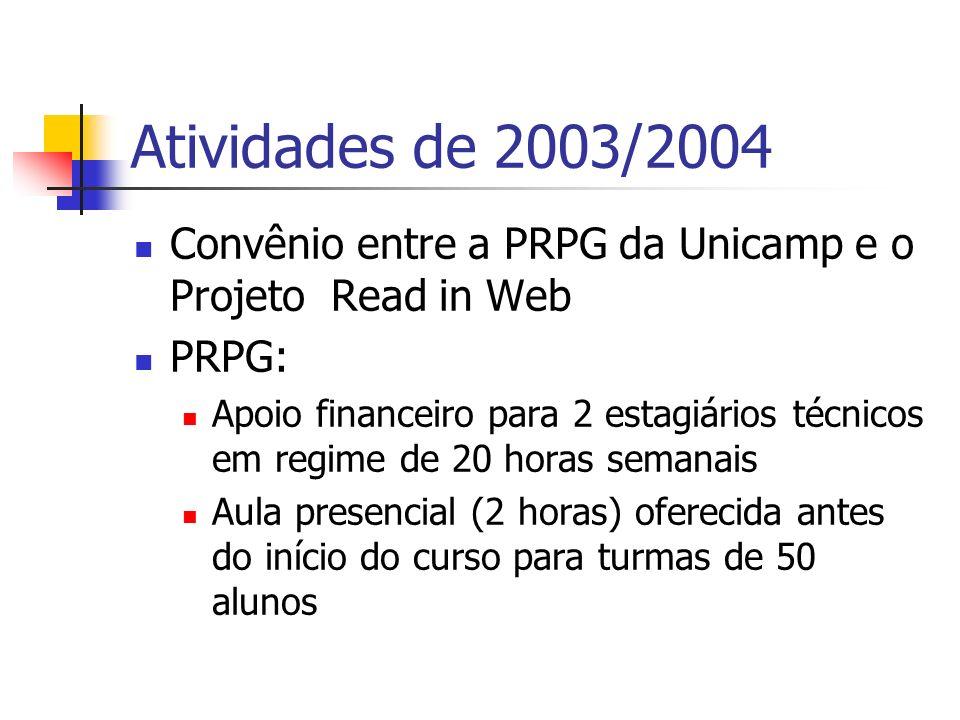 Atividades de 2003/2004 Convênio entre a PRPG da Unicamp e o Projeto Read in Web. PRPG: