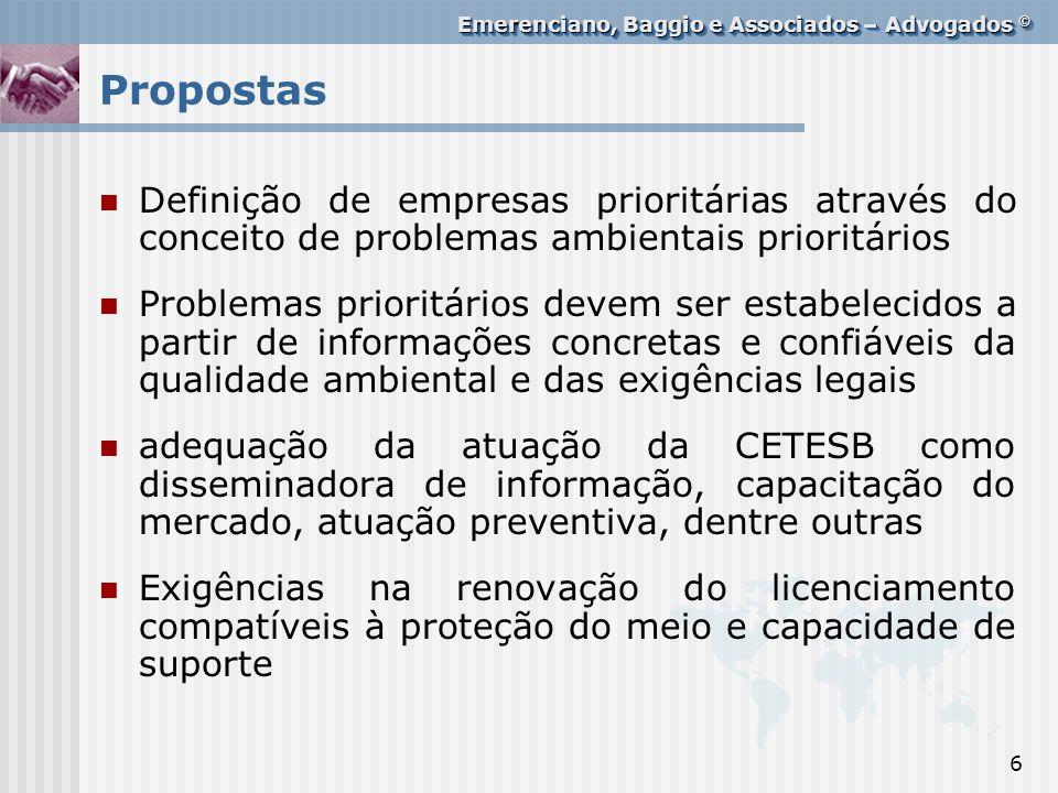 Propostas Definição de empresas prioritárias através do conceito de problemas ambientais prioritários.