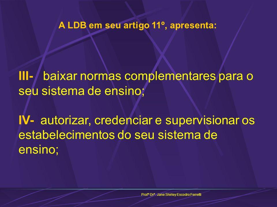 A LDB em seu artigo 11º, apresenta: