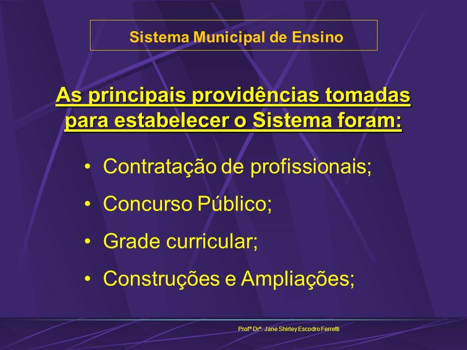 As principais providências tomadas para estabelecer o Sistema foram: