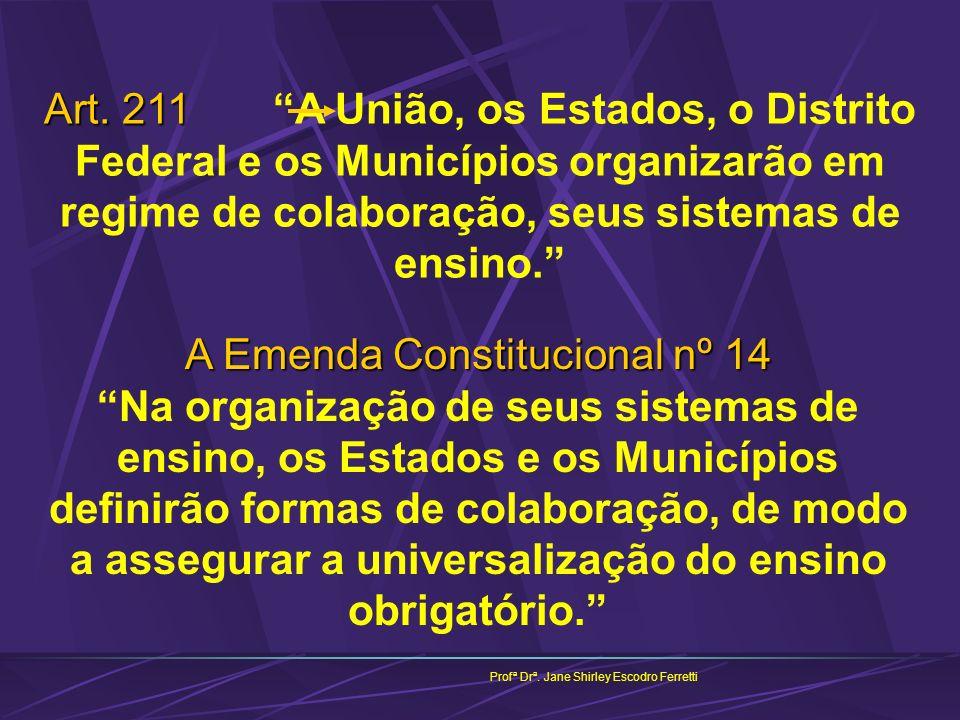 Art. 211 A União, os Estados, o Distrito Federal e os Municípios organizarão em regime de colaboração, seus sistemas de ensino.