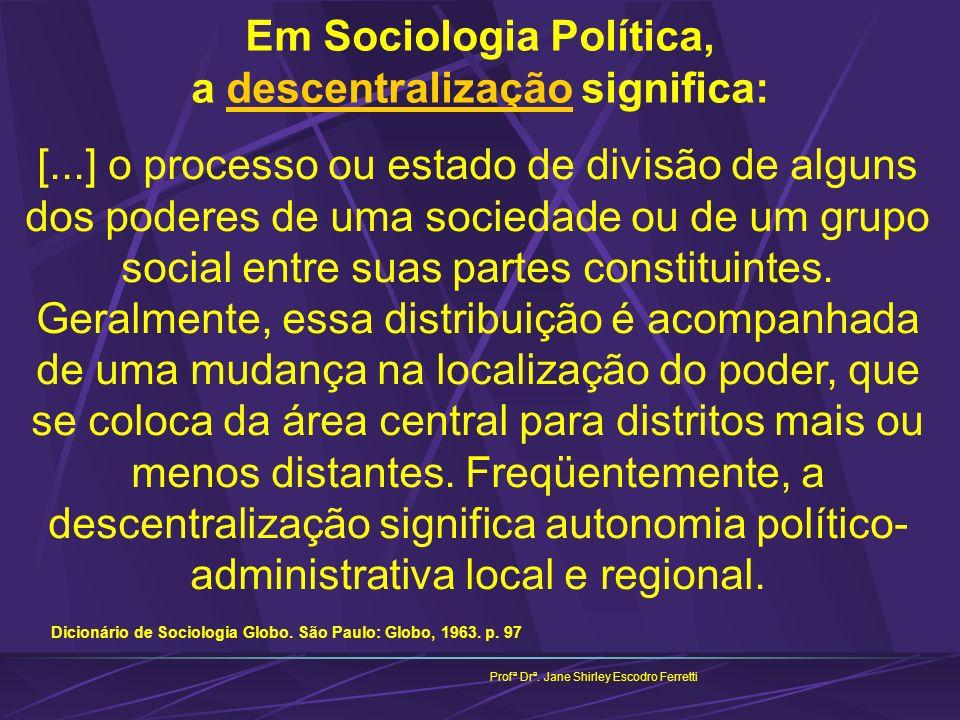 Em Sociologia Política, a descentralização significa: