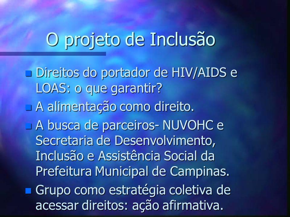 O projeto de Inclusão Direitos do portador de HIV/AIDS e LOAS: o que garantir A alimentação como direito.