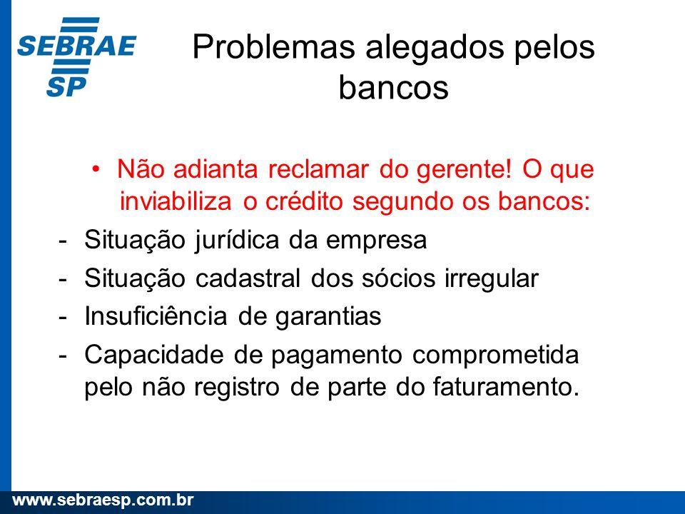 Problemas alegados pelos bancos