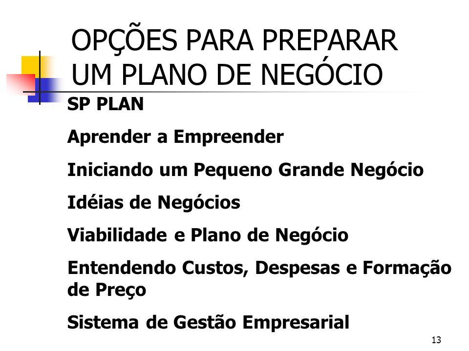 OPÇÕES PARA PREPARAR UM PLANO DE NEGÓCIO