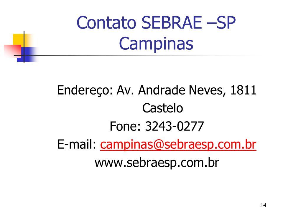 Contato SEBRAE –SP Campinas