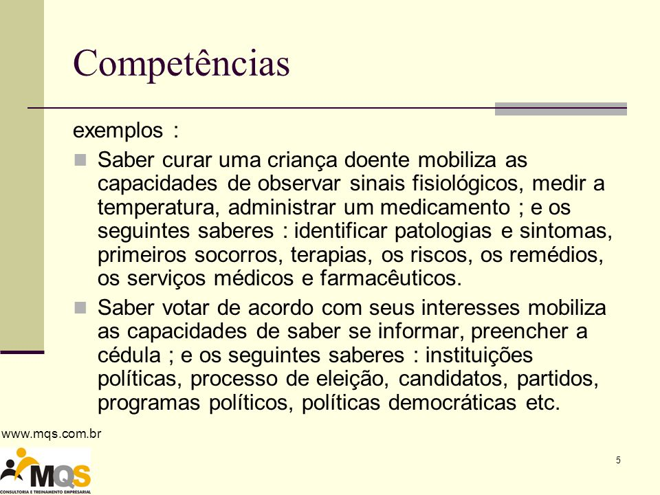 Competências exemplos :