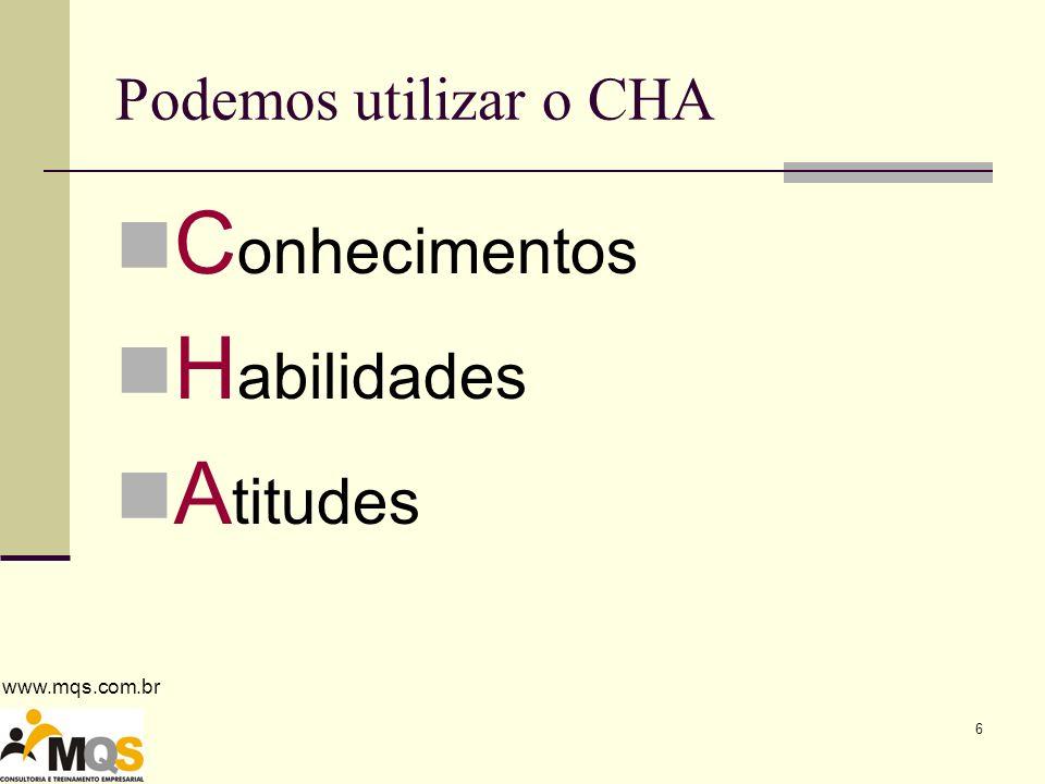 Podemos utilizar o CHA Conhecimentos Habilidades Atitudes