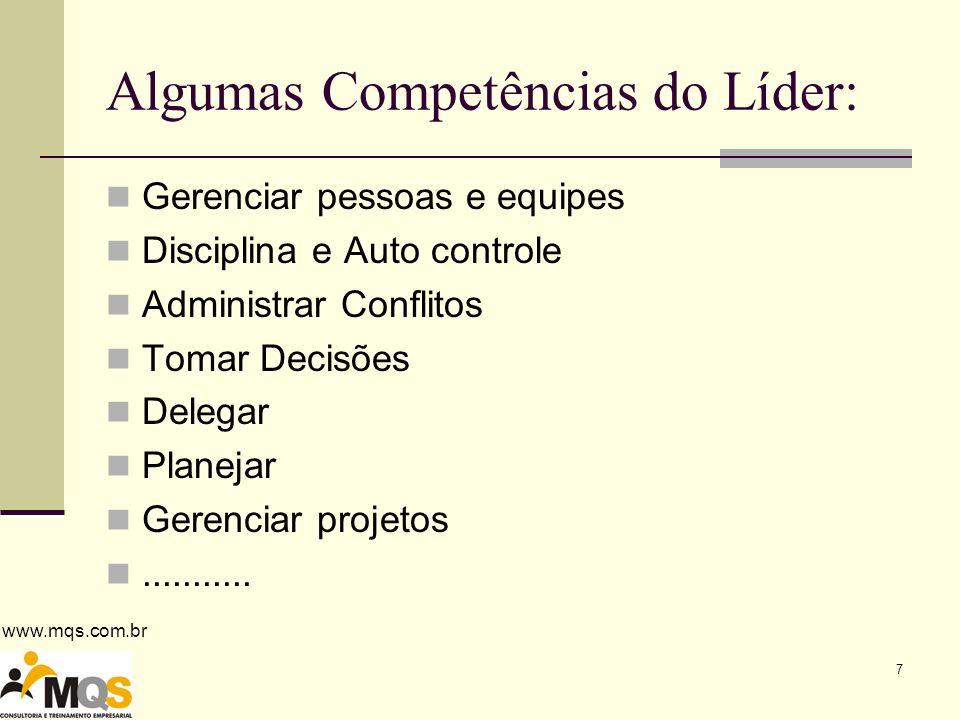 Algumas Competências do Líder: