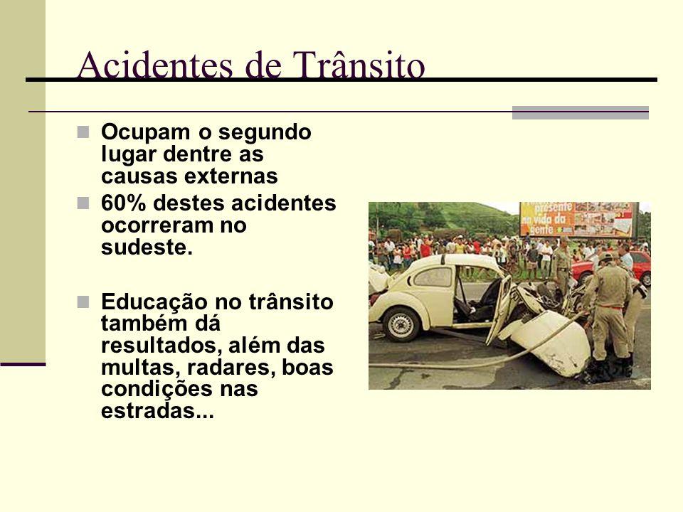 Acidentes de Trânsito Ocupam o segundo lugar dentre as causas externas