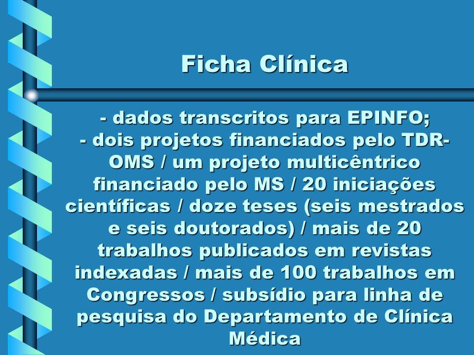 - dados transcritos para EPINFO;