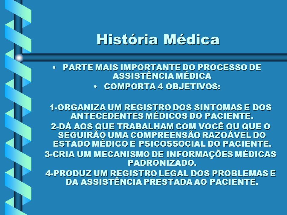 História Médica PARTE MAIS IMPORTANTE DO PROCESSO DE ASSISTÊNCIA MÉDICA. COMPORTA 4 OBJETIVOS: