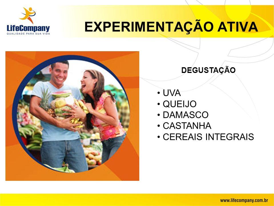 EXPERIMENTAÇÃO ATIVA UVA QUEIJO DAMASCO CASTANHA CEREAIS INTEGRAIS