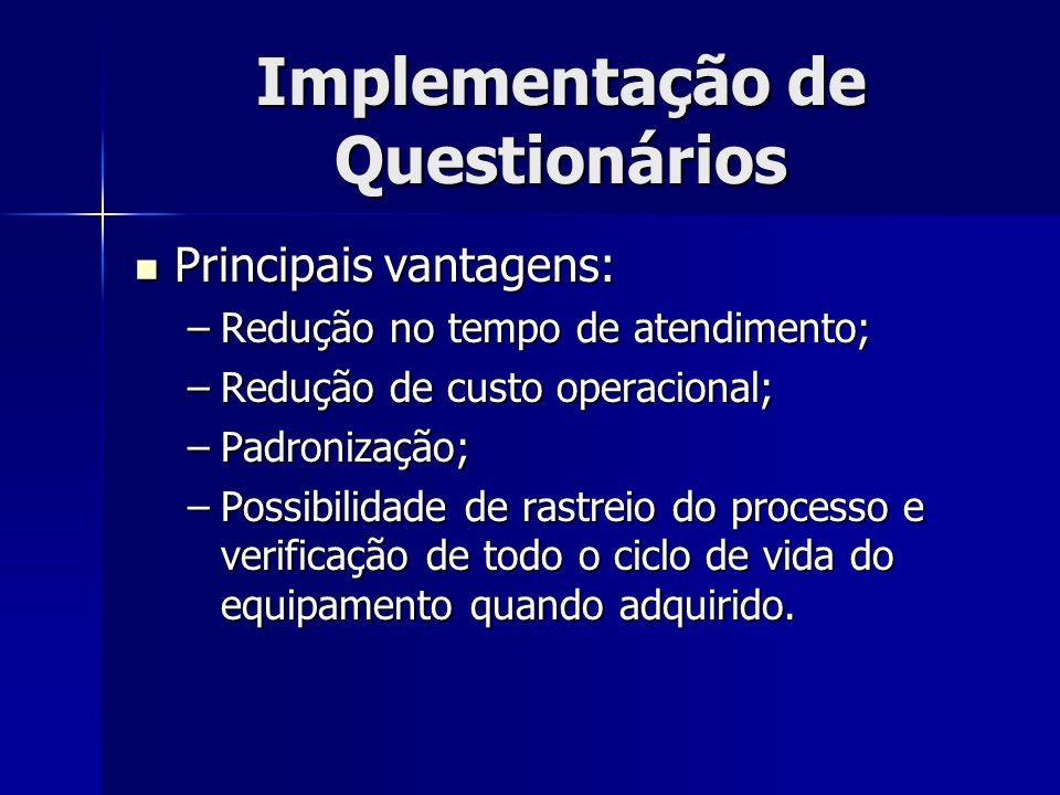 Implementação de Questionários