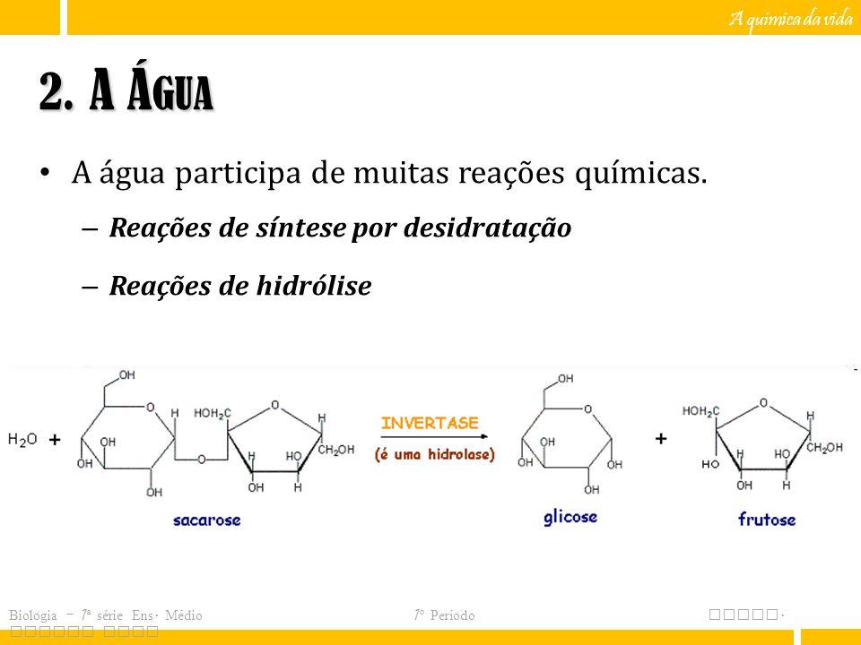 2. A Água A água participa de muitas reações químicas.