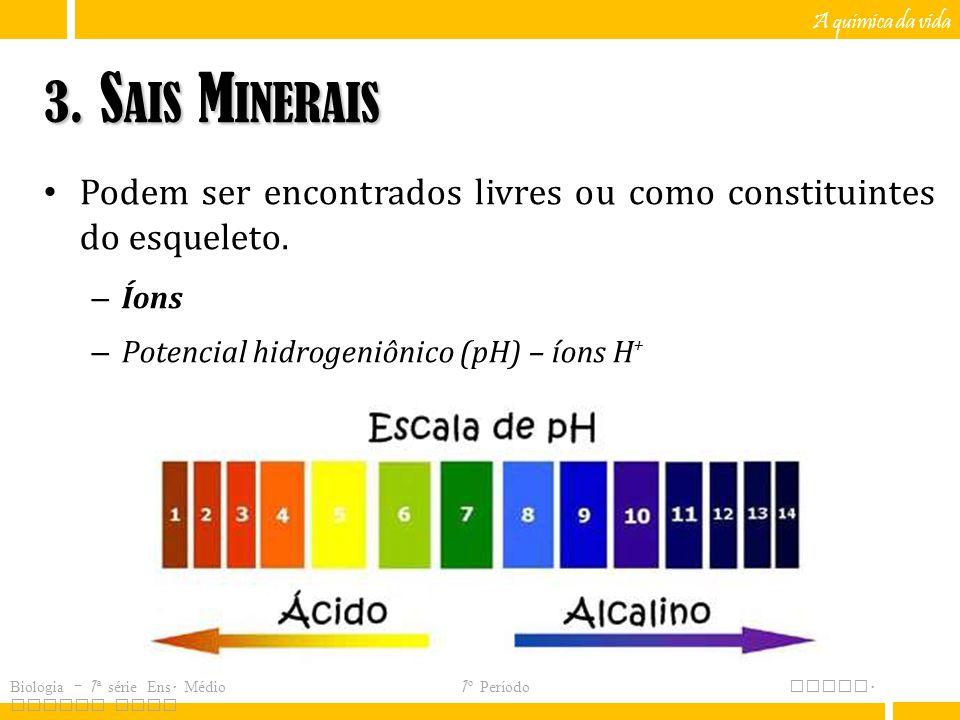 A química da vida 3. Sais Minerais. Podem ser encontrados livres ou como constituintes do esqueleto.