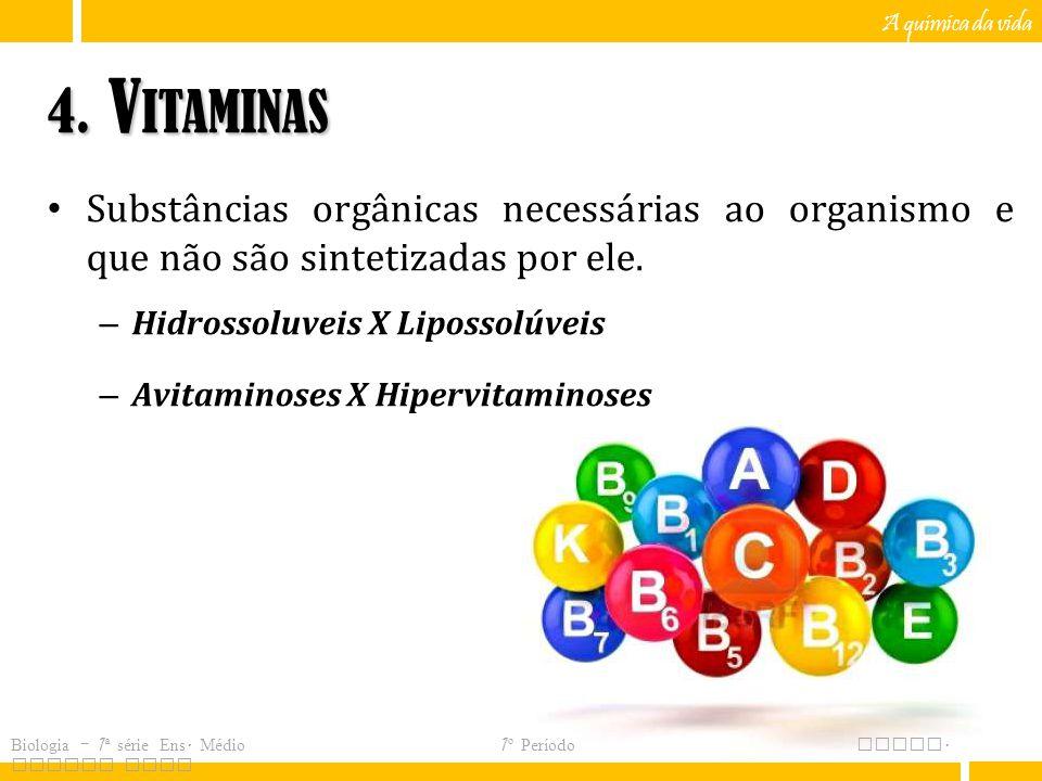 A química da vida 4. Vitaminas. Substâncias orgânicas necessárias ao organismo e que não são sintetizadas por ele.