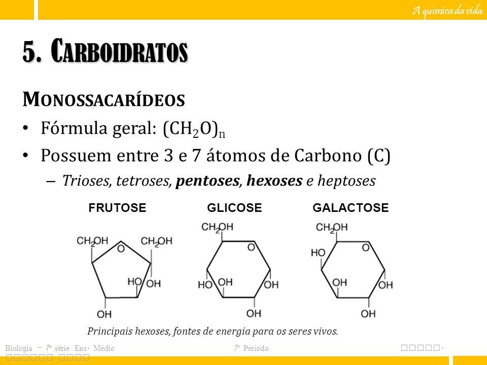 5. Carboidratos Monossacarídeos Fórmula geral: (CH2O)n
