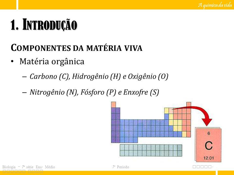 1. Introdução Componentes da matéria viva Matéria orgânica