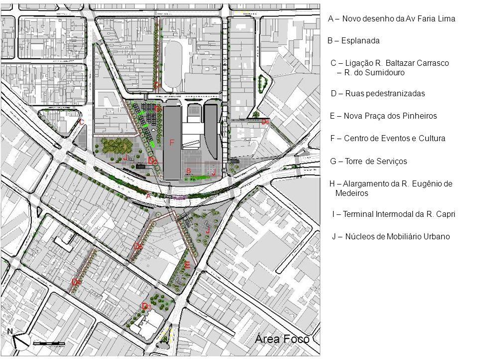 Área Foco A – Novo desenho da Av Faria Lima B – Esplanada