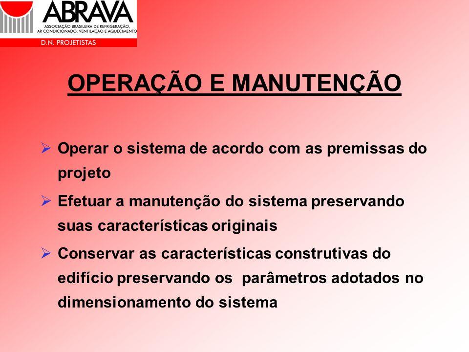 OPERAÇÃO E MANUTENÇÃO Operar o sistema de acordo com as premissas do projeto.