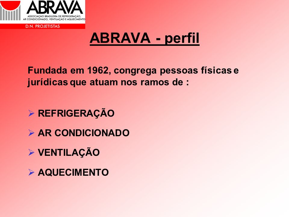 ABRAVA - perfil Fundada em 1962, congrega pessoas físicas e jurídicas que atuam nos ramos de : REFRIGERAÇÃO.