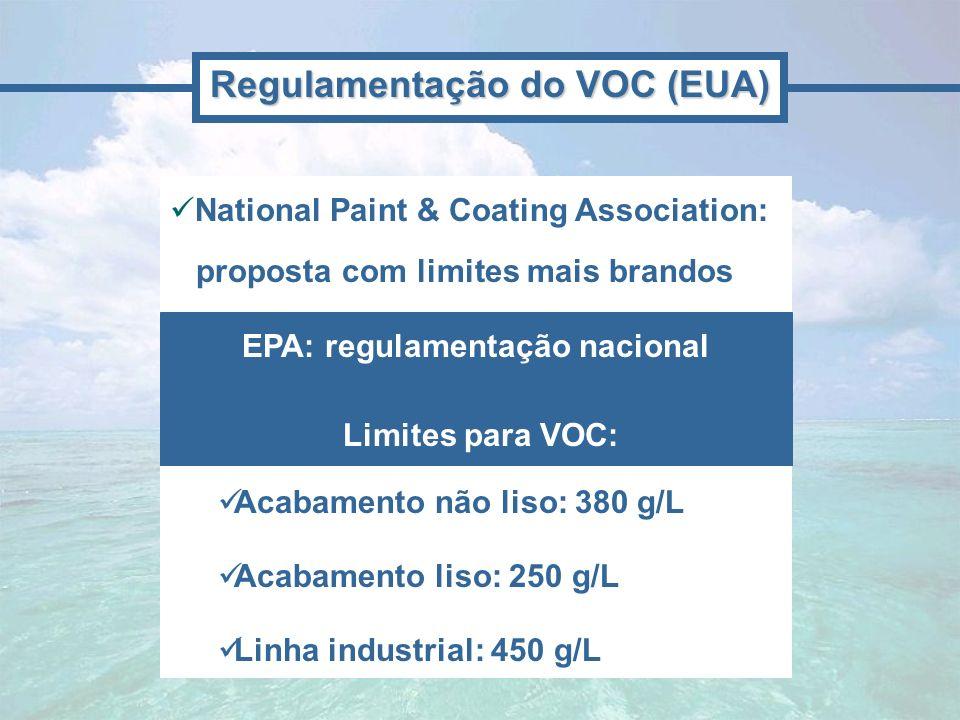Regulamentação do VOC (EUA) EPA: regulamentação nacional