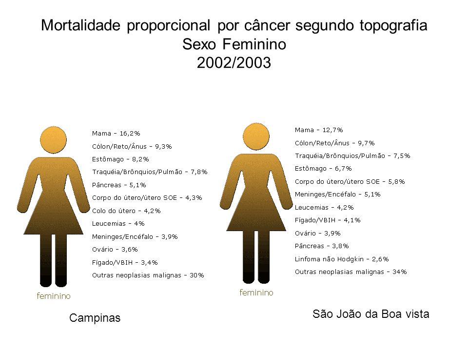 Mortalidade proporcional por câncer segundo topografia Sexo Feminino 2002/2003