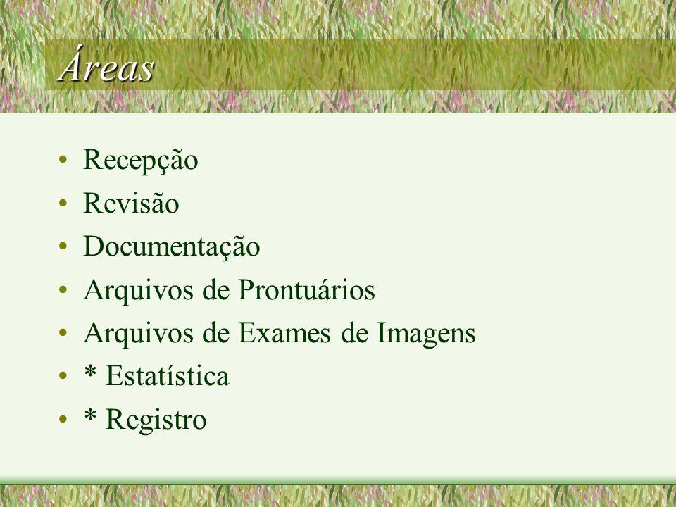 Áreas Recepção Revisão Documentação Arquivos de Prontuários