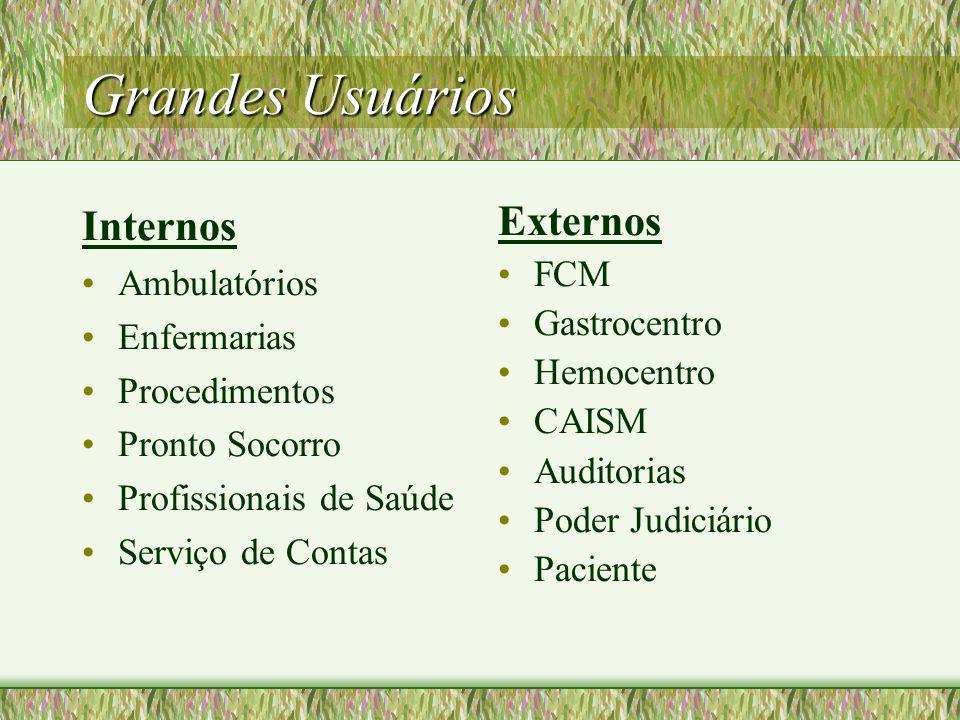 Grandes Usuários Internos Externos Ambulatórios FCM Gastrocentro