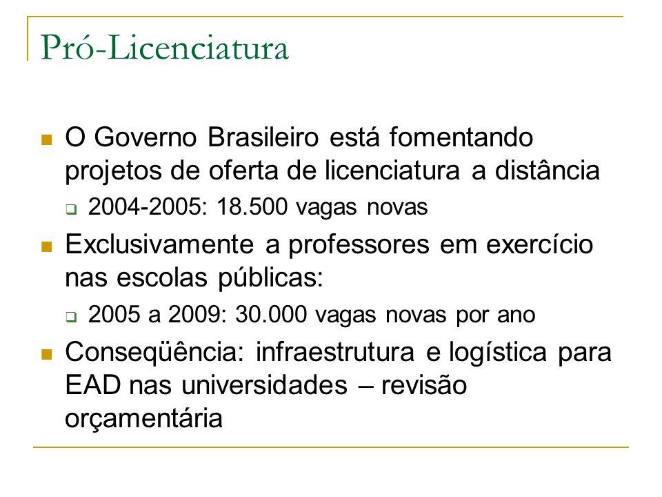 Pró-LicenciaturaO Governo Brasileiro está fomentando projetos de oferta de licenciatura a distância.