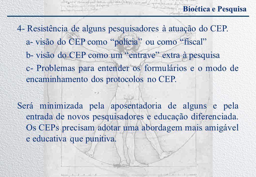 4- Resistência de alguns pesquisadores à atuação do CEP.