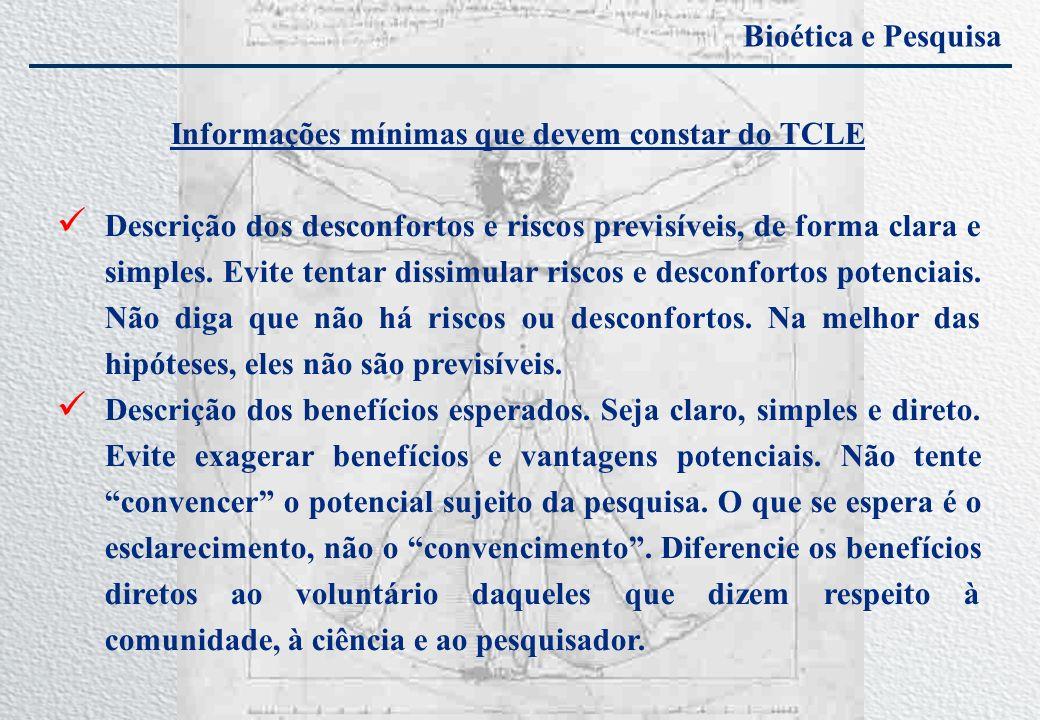 Informações mínimas que devem constar do TCLE