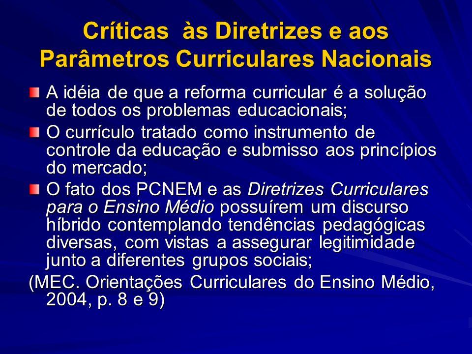 Críticas às Diretrizes e aos Parâmetros Curriculares Nacionais
