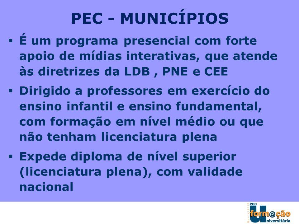 PEC - MUNICÍPIOS É um programa presencial com forte apoio de mídias interativas, que atende às diretrizes da LDB , PNE e CEE.