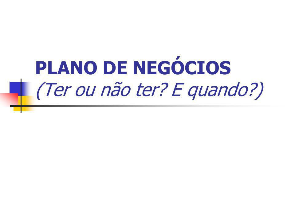 PLANO DE NEGÓCIOS (Ter ou não ter E quando )