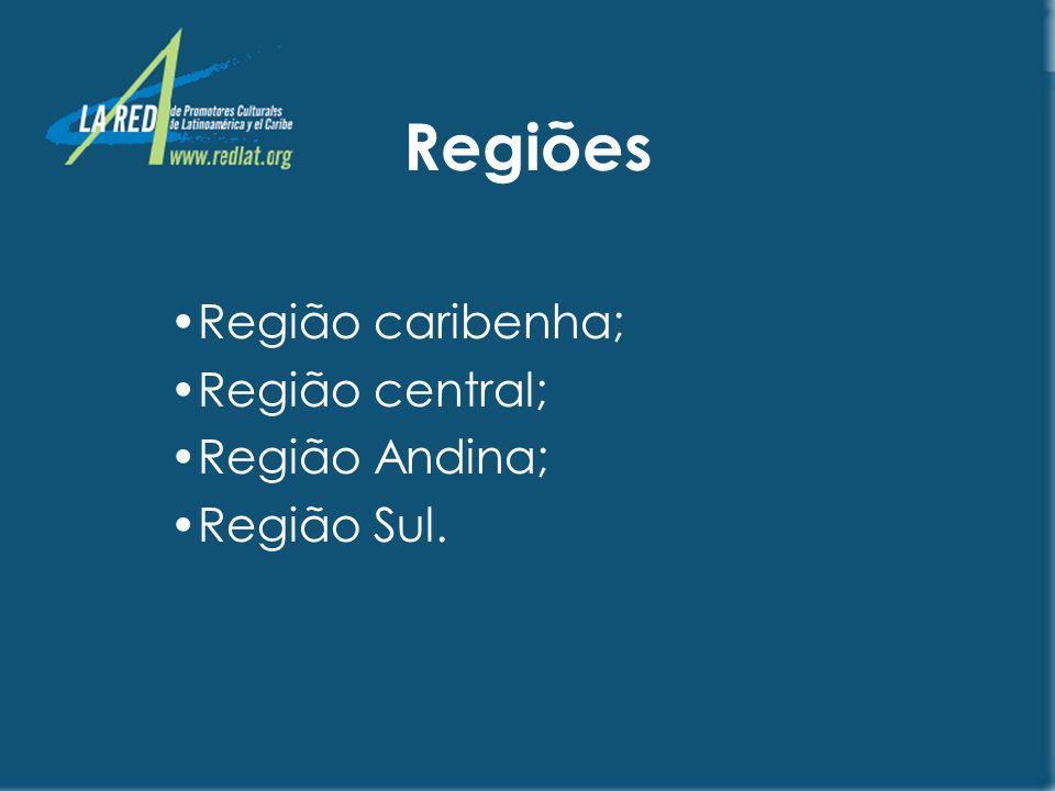 Região caribenha; Região central; Região Andina; Região Sul.