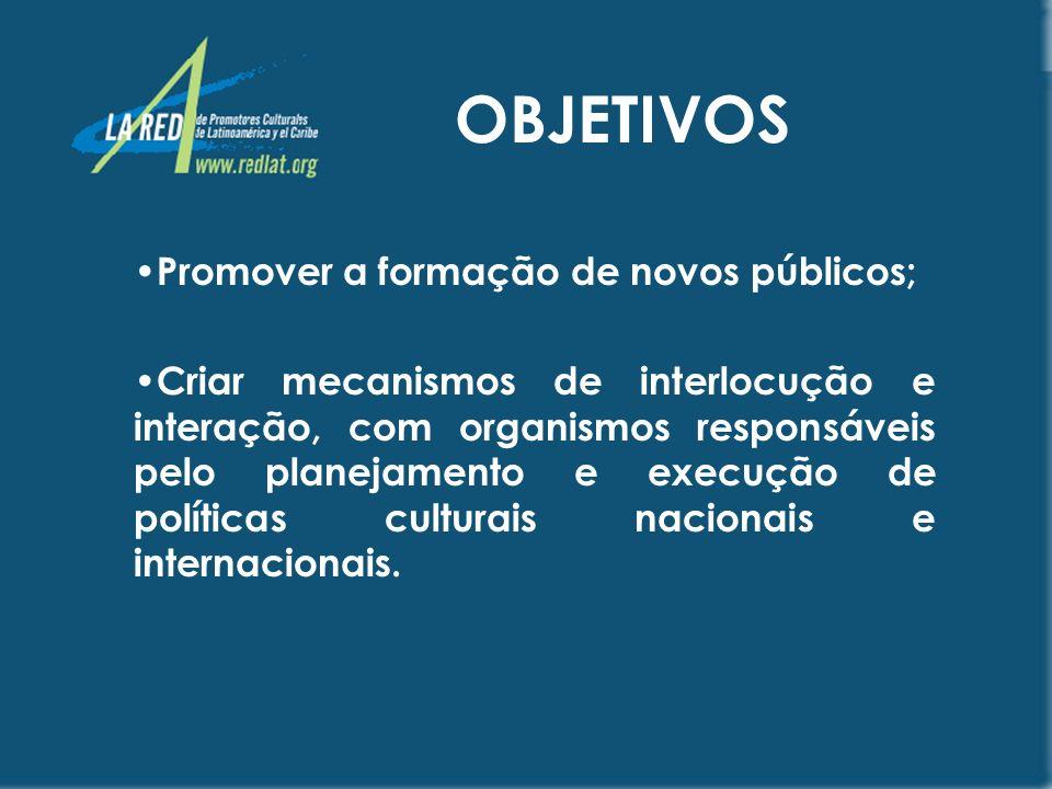 OBJETIVOS Promover a formação de novos públicos;