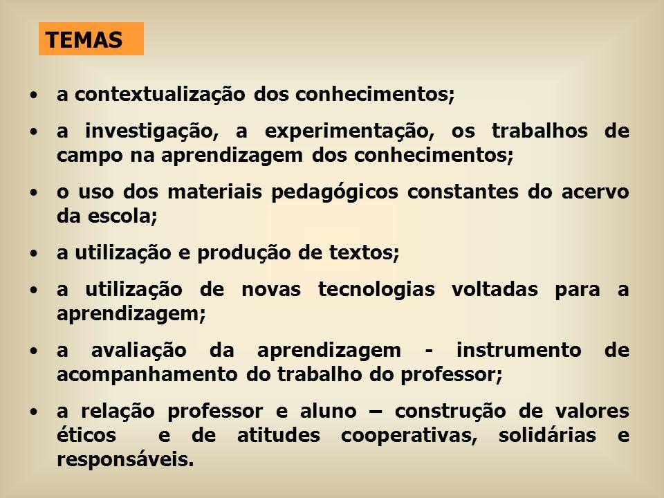 TEMAS a contextualização dos conhecimentos;