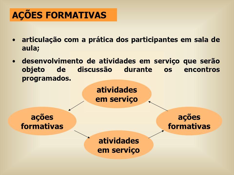 AÇÕES FORMATIVAS atividades em serviço ações formativas