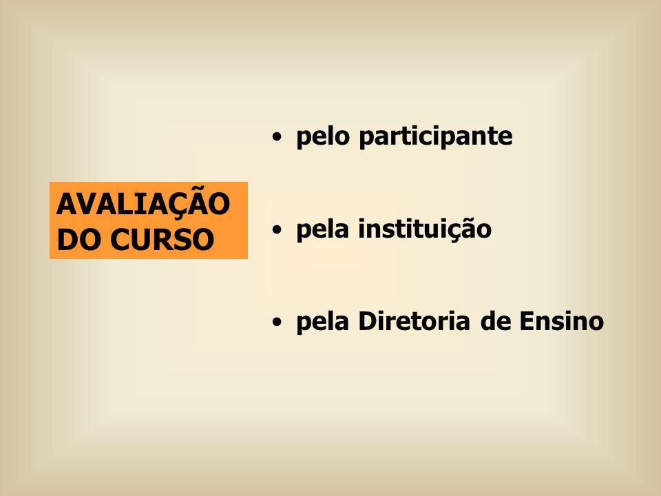 AVALIAÇÃO DO CURSO pelo participante pela instituição