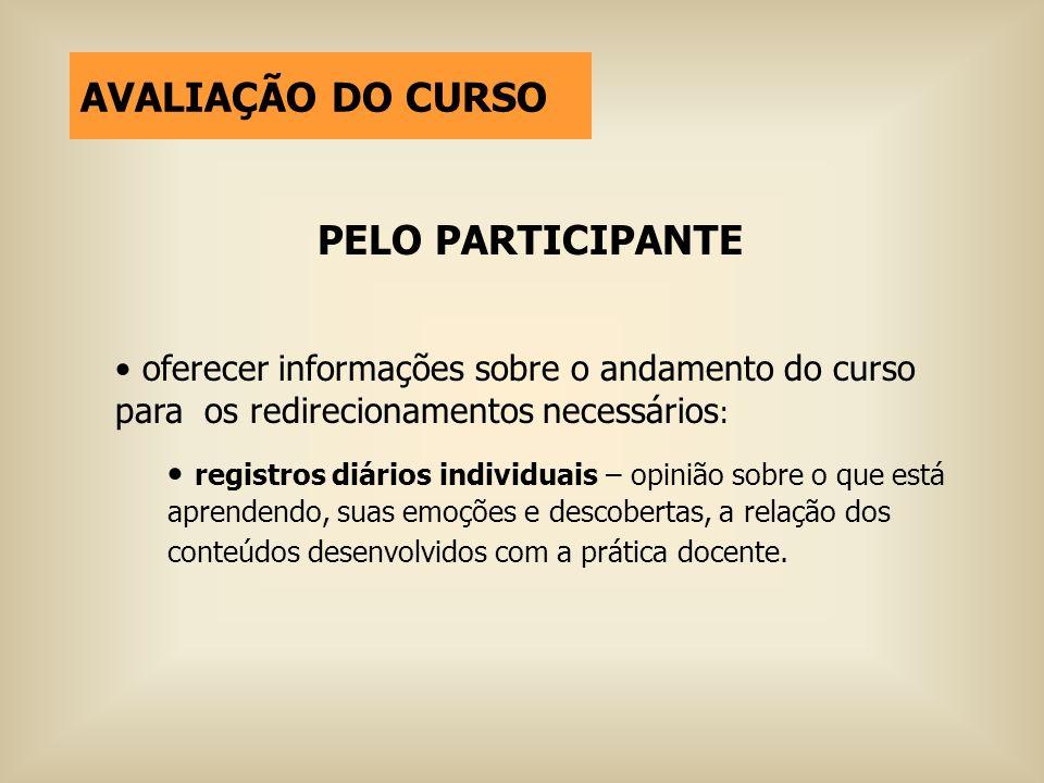 AVALIAÇÃO DO CURSO PELO PARTICIPANTE